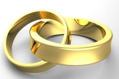 guld- bröllop 3d Royaltyfri Fotografi