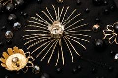 Guld- broderi av stjärnan och små blommor Arkivbilder