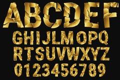 Guld- brutna bokstäver Alfabetet av guld- stycken dekorativt alfabet A-Z 0-9 också vektor för coreldrawillustration Fotografering för Bildbyråer