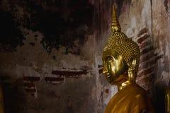 Guld- Buddha bredvid gamla väggar i thailändska tempel royaltyfria bilder