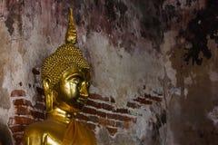 Guld- Buddha bredvid gamla väggar i thailändska tempel royaltyfri bild
