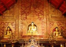Guld- buddha diagram i kyrka royaltyfri foto