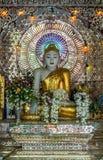 Guld- Buddha i en drömlika disneyland Arkivfoto