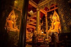 Guld- Buddha i en tempel Thailand Arkivfoton
