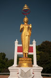 Guld- Buddha med blå himmel Royaltyfri Bild