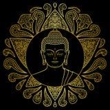 Guld- Buddha med Lotus royaltyfri illustrationer