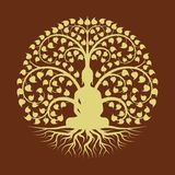 Guld- buddha mediterar under design för vektor för stil för tecken för Bodhi trädcirkel royaltyfri illustrationer