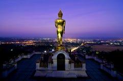 Guld- buddha skulptur på berget Arkivbild