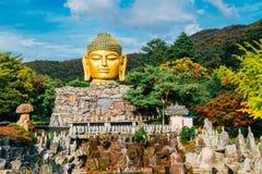 Guld- buddha staty i den Wawoo templet, Korea fotografering för bildbyråer
