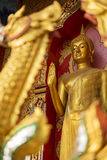 Guld- buddha staty i tempel Royaltyfri Foto