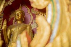 Guld- buddha staty i tempel Arkivbild