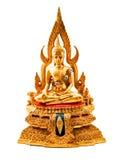 Guld- Buddha, vit bakgrund royaltyfria bilder