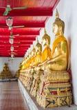 Guld- buddhas i wat Mahatat Thaprajun Royaltyfria Bilder