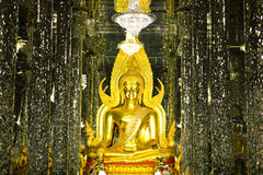 Guld- Buddhastaty på domkyrkaexponeringsglas Royaltyfri Foto