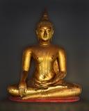 Guld- Buddhastaty på svart bakgrund Royaltyfria Foton