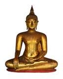 Guld- Buddhastaty på vit bakgrund Royaltyfri Bild
