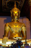 Guld- Buddhastaty Wat Na Phra Meru Ayutthaya, Thailand Arkivbilder