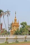 Guld- buddistisk stupa, Laos Fotografering för Bildbyråer