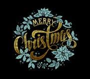 Guld- Calligraphic bokstäverdesign för glad jul vektor illustrationer