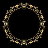 Guld- calligraphic vektordesignbeståndsdelar på den svarta bakgrunden Den guld- menyn och inbjudan gränsar, rundaramen, avdelare Royaltyfri Fotografi