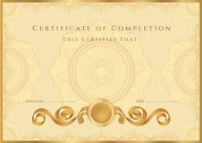 Guld- certifikat-/diplombakgrund (mallen) Royaltyfria Bilder