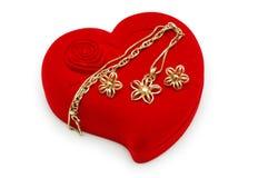 guld- chain örhängen royaltyfri fotografi