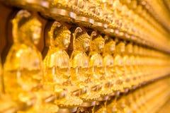 Guld- Chainese Buddha på den Leng Noei Yi 2 templet royaltyfri fotografi