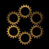 Guld- cirkel av kugghjul Royaltyfri Bild