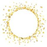 Guld- cirkel för konfettier stock illustrationer