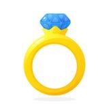 Guld- cirkel för koppling med en diamant royaltyfri illustrationer