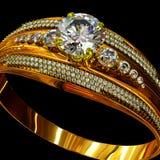 Guld- cirkel för koppling med smyckenädelstenen Royaltyfria Bilder