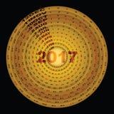 Guld- cirkeldesignmall av 2017 calendar-1 Arkivbild