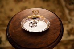 Guld- cirklar för koppling Royaltyfria Foton