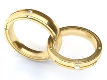 Guld- cirklar med diamanter Arkivfoton