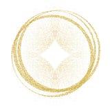 Guld- cirklar och cirklar Garneringdesignbeståndsdel av guld- folie som förgyller textur Festlig bakgrund för nytt år och vektor illustrationer
