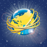 Guld- cirklar runt om planeten Earth.Vector Illus Stock Illustrationer