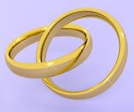 Guld- cirklar som föreställer förälskelse Valentine And Romance Arkivfoton