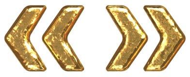 guld- citationsteckensymbol för stilsort Royaltyfri Bild