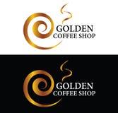 Guld- coffee shoplogo stock illustrationer