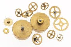 guld- cogwheels många som är gammala Arkivbild