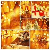 Guld- collage av julpynt Royaltyfria Foton