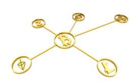 Guld- cryptocurrencysymboler på vit bakgrund ingen skugga framförande 3d royaltyfri illustrationer