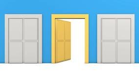 Guld- dörröppning stock illustrationer