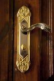Guld- dörrlås Arkivfoto