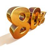 guld 3d 80 åttio procent rabatttecken Arkivbilder