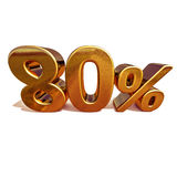 guld 3d 80 åttio procent rabatttecken Arkivfoton