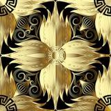 Guld 3d blommar den sömlösa modellen blom- vektor för abstrakt backgro stock illustrationer