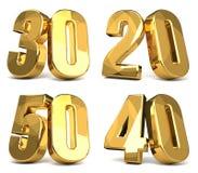 50 40 30 20 guld- 3d framför Royaltyfri Bild