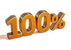 guld 3d 100 hundra procent rabatttecken Arkivbilder