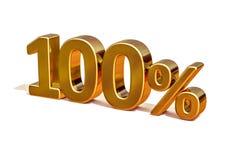 guld 3d 100 hundra procent rabatttecken Royaltyfria Bilder